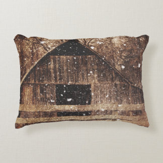 Primitive Winter Snow Country Rural Old Barn Decorative Pillow