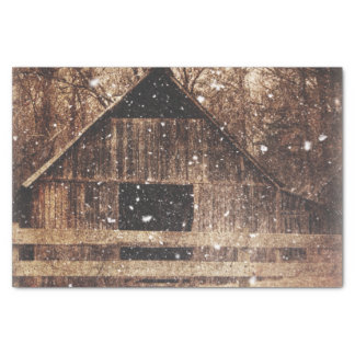 Primitive Winter Snow Country Rural Old Barn Tissue Paper