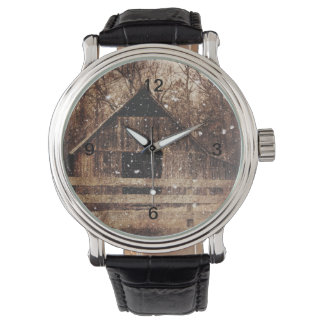 Primitive Winter Snow Country Rural Old Barn Wristwatch