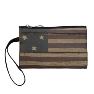 Primitive wood American flag Coin Purse