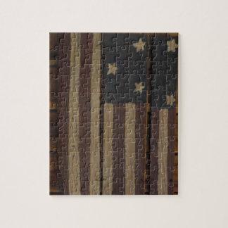 Primitive wood American flag Jigsaw Puzzle