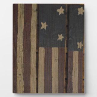 Primitive wood American flag Plaque