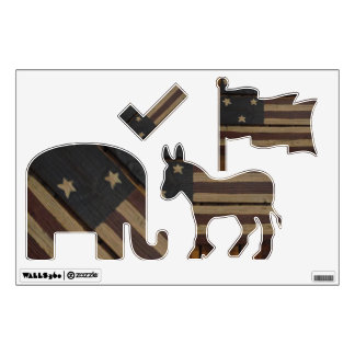 Primitive wood American flag Wall Decal
