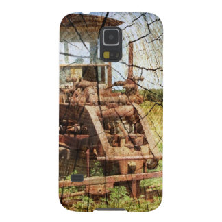 Primitive Wood Grain Country Construction tractor Case For Galaxy S5