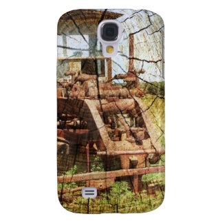 Primitive Wood Grain Country Construction tractor Galaxy S4 Cover