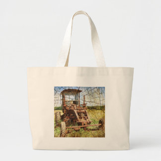 Primitive Wood Grain Country Construction tractor Large Tote Bag
