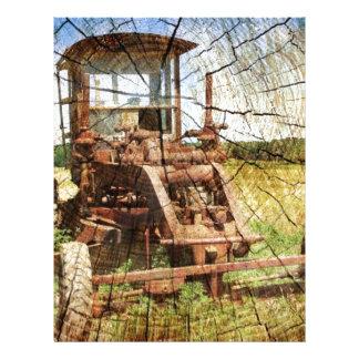 Primitive Wood Grain Country Construction tractor Letterhead
