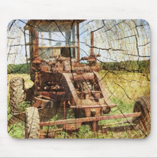 Primitive Wood Grain Country Construction tractor Mouse Pad