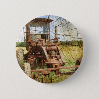 Primitive Wood Grain Country Construction tractor Pinback Button