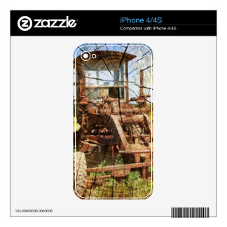 Primitive Wood Grain Country Construction tractor Skin For iPhone 4