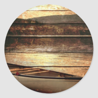 Primitive Wood grain reflection Lake House Canoe Classic Round Sticker