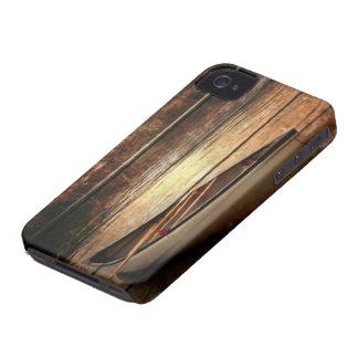 Primitive Wood grain reflection Lake House Canoe iPhone 4 Case