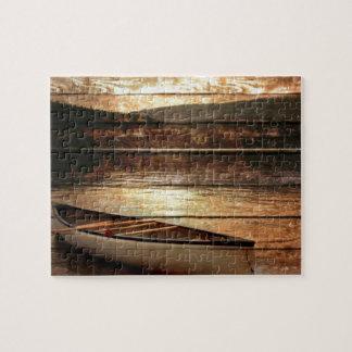 Primitive Wood grain reflection Lake House Canoe Jigsaw Puzzle