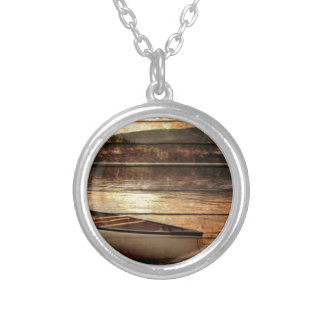 Primitive Wood grain reflection Lake House Canoe Silver Plated Necklace