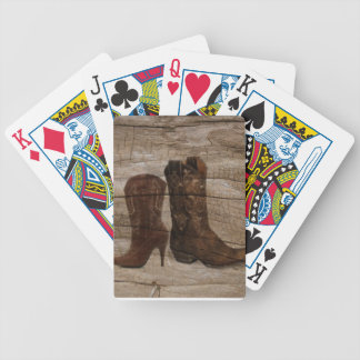 Primitive Wood grain Western country cowboy boots Bicycle Playing Cards