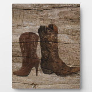 Primitive Wood grain Western country cowboy boots Plaque