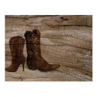 Primitive Wood grain Western country cowboy boots Postcard (<em>$1.15</em>)
