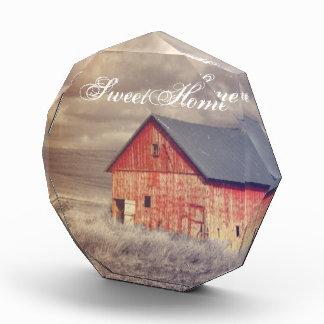 Primitive Wood Western Country farm Red Barn Acrylic Award