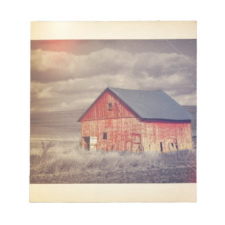 Primitive Wood Western Country farm Red Barn Notepad