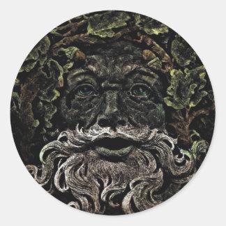 primitive woodland foliage forest god greenman classic round sticker