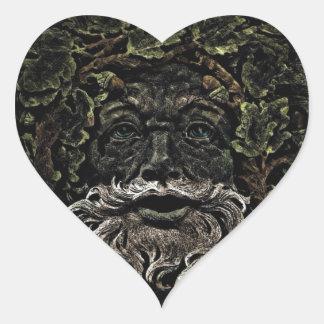 primitive woodland foliage forest god greenman heart sticker