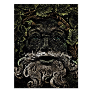 primitive woodland foliage forest god greenman postcard