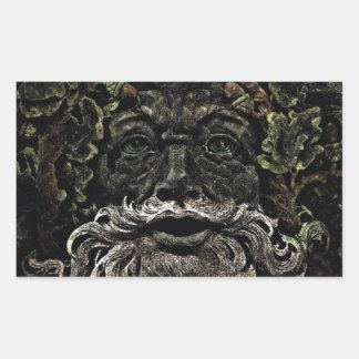 primitive woodland foliage forest god greenman rectangular sticker