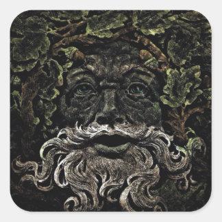 primitive woodland foliage forest god greenman square sticker