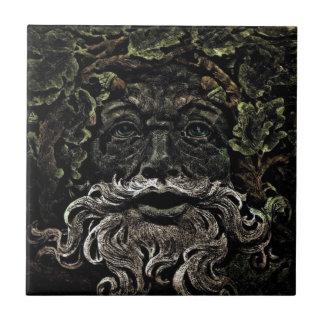 primitive woodland foliage forest god greenman tile