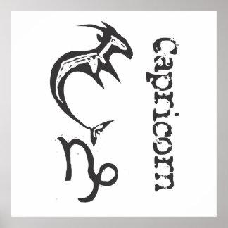 Primitive Zodiac Sign- Capricorn Poster