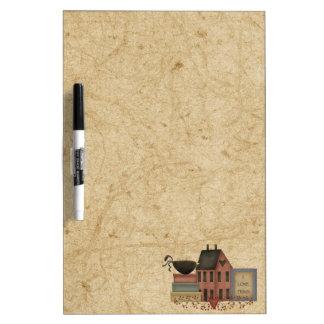 Primitives-Red Saltbox, boxes, crow, I love Prims Dry Erase Board