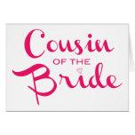 Primo del blanco del rosa de la novia tarjeta de felicitación
