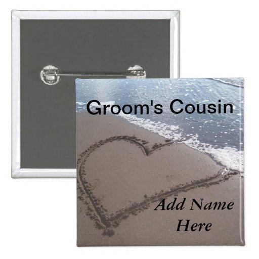 Primo del botón del boda de playa del novio pin