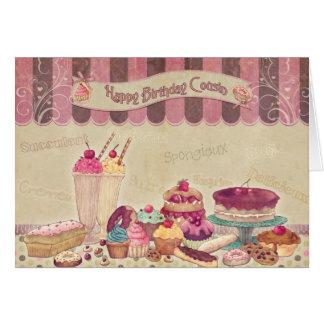 Primo del feliz cumpleaños - tortas y dulces tarjeta de felicitación