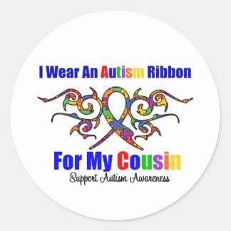 Primo tribal de la cinta del autismo pegatina redonda