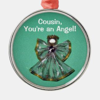 ¡Primo, usted es un ángel! Adorno Redondo Plateado