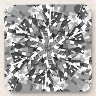 Primordial Egg - black&white abstract burst Drink Coaster