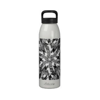 Primordial Egg - Black White abstract burst Reusable Water Bottles