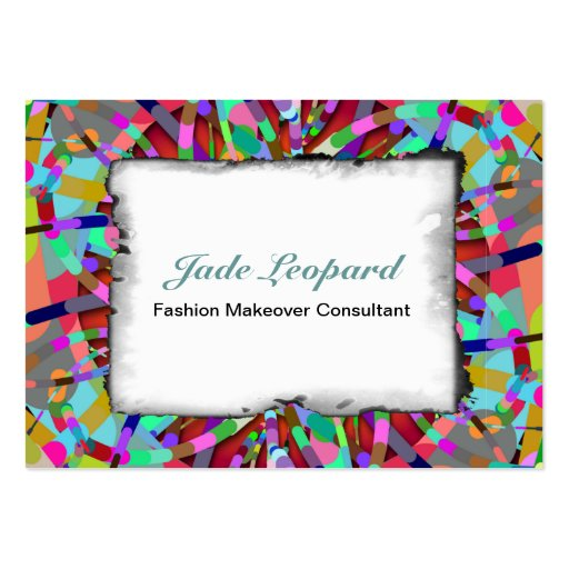 Primordial Egg - Multi color abstract burst Business Card Template