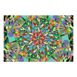 Primordial Egg - Multi color abstract burst Poster