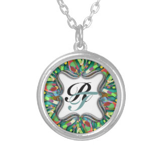 Primordial Egg - Multi color abstract burst Silver Plated Necklace
