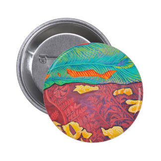Primordial Peacock Abstract Pinback Button