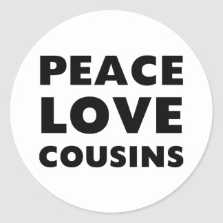 Primos del amor de la paz pegatina redonda