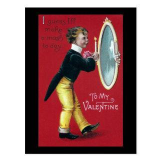 Primping in Mirror Vintage Valentine Postcard