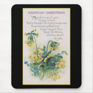 Primrose and Forget-Me-Not Vintage Birthday Mouse Pad