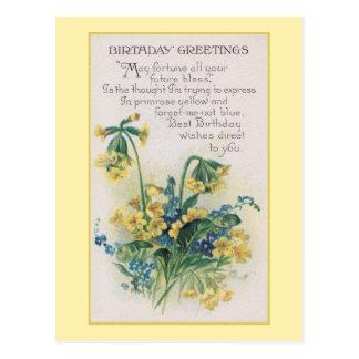 Primrose and Forget-Me-Not Vintage Birthday Postcard