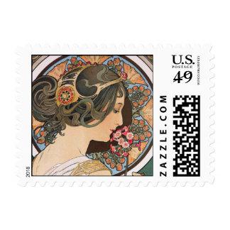 Primrose by Alphonse Mucha - Vintage Art Nouveau Postage