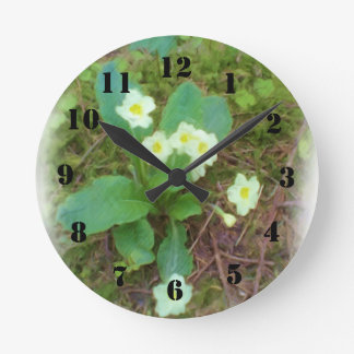 primrose Flower Round Clocks