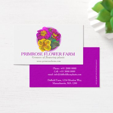 Professional Business Primrose flower farm plant suppliers business card