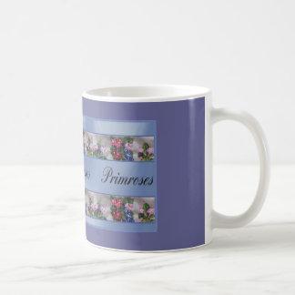 Primrose in blue coffee mug